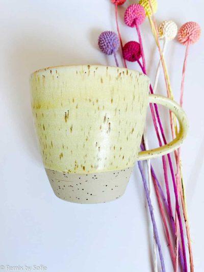 krus med hank, kop, krus, ember keramik, émber keramik, remix by Sofie,krus med hank i lysegul