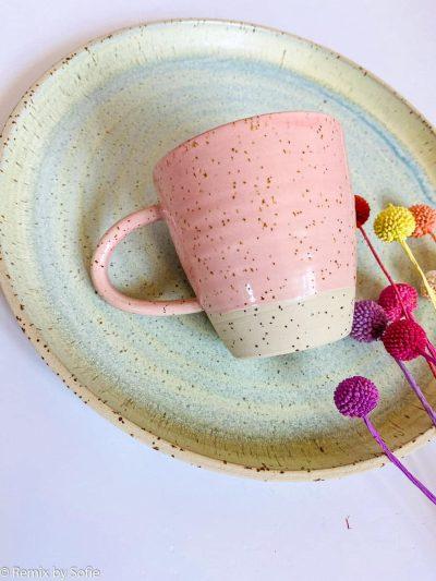 krus med hank, kop, krus, ember keramik, émber keramik, remix by Sofie,krus med hank lyserød