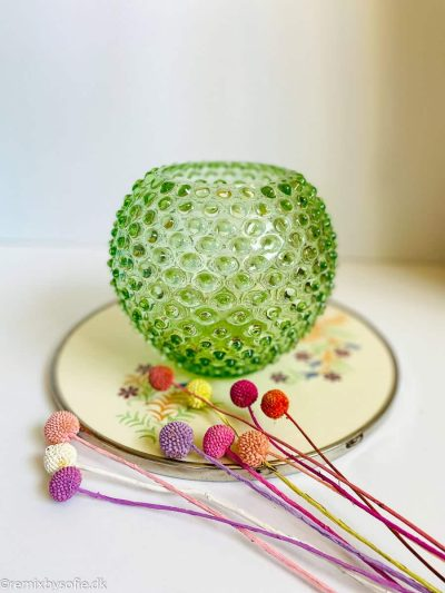 Pindsvine vase 18 cm i lysegrøn