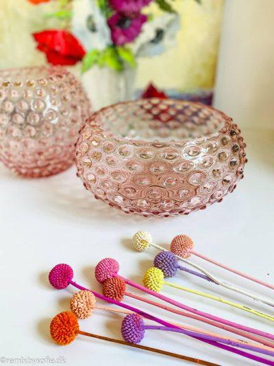 skål i pindsvineglas 24 cm i lyserød