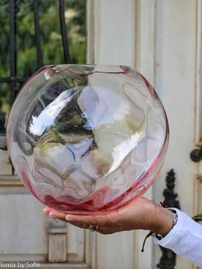 anna von lipa vase, swirl vase, glas vase, mundblæst vase, lyserød vase, rosa vase