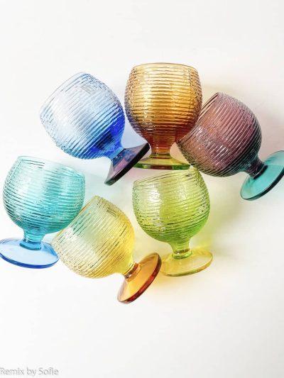 remix by sofie, remixbysofiemulticolor glas på fod, farvede glas, mundblæst glas, glas fra italien, ivv,