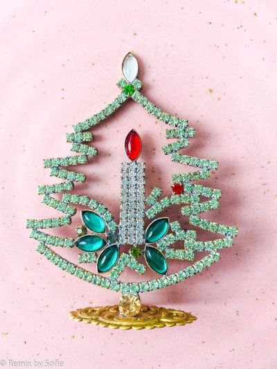 rhinstens juletræ, rhinstenstræ, juletræ i rhinststen, vintage juletræ, juletræ i vintagesten, vintage rhinstone, juletræer i sten, julepynt,christmas tree rhinstones, christmas ornament, Czech christmastree, remix by sofie