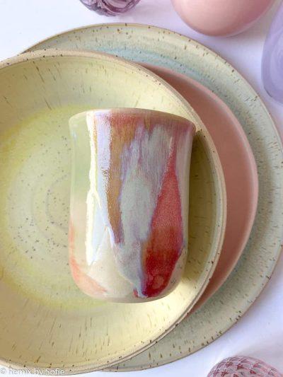 keramik kop, go slow køge, løbeglasur, kaffekop.