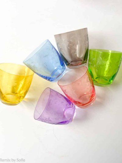 floral tumbler glas, bøhmiske glas, flral vandglas, farvede glas