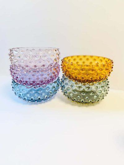 anna von lipa skål, pindsvine skål, pindsvineskål, glas skål, farvet glas,