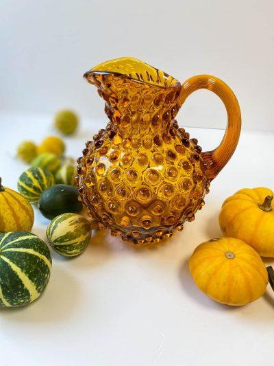 glass jug, jug in glass, stained glass, yellow jug, anna von lipa, hedgehog glass, hedgehog jug, hedgehog jug, 1 liter jug, anna von lipa jug, jug in hedgehog glass, water jug, jug for water, hobnail, jug