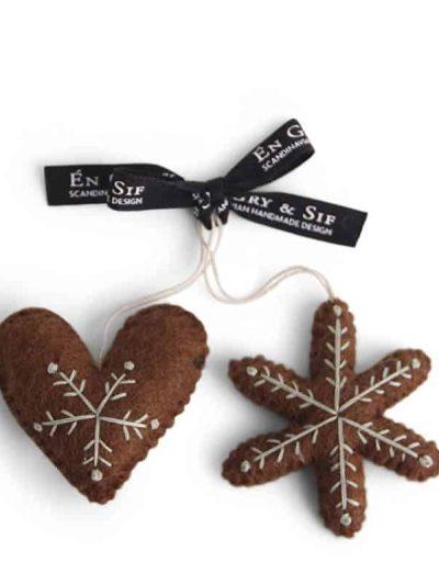 julehjerte, peberkage hjerte, stjerne, peberkage stjerne, gingerbread star, gingerbread heart, juletræ, én gry & sif, en gry & sif, filt julepynt, julepynt i filt, filt fra nepal