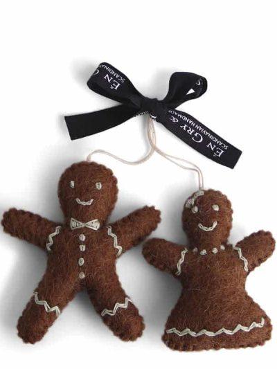 peberkage mand og dame, filtet peberkage mand og dame, bæredygtig jul, én gry & sif, en gry & sif, filt julepynt, julepynt i filt, filt fra nepal