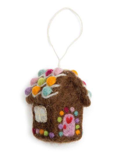 gingerbread house, peberkagehus, , én gry & sif, en gry & sif, filt julepynt, julepunt i filt, filt fra nepal