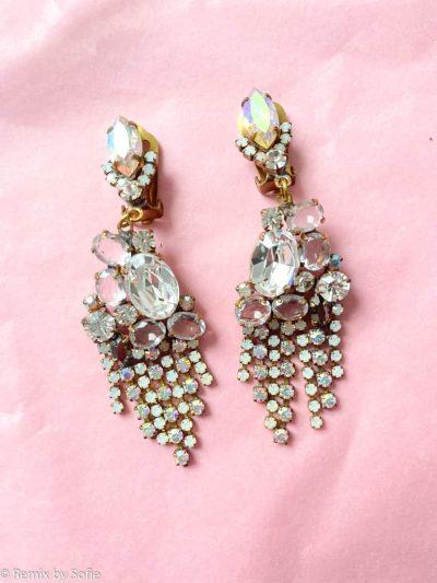 vintage øreringe med ørestikker, øreringe i rhinsten