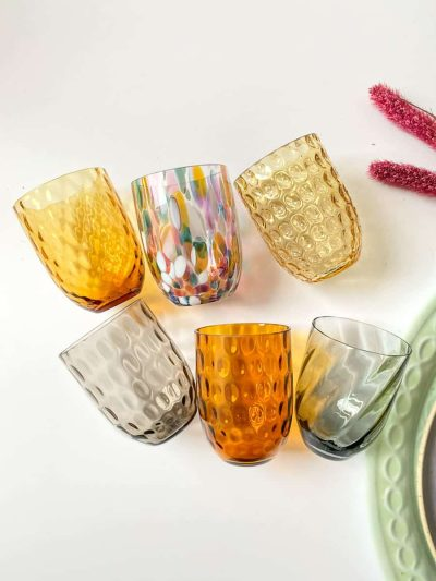 mundblæste glas, glas med opal spots, anna von lipa mix & match, swil glas, wawe glas, harlekin glas, tumbler, vand glas, drikkeglas, drinking glass