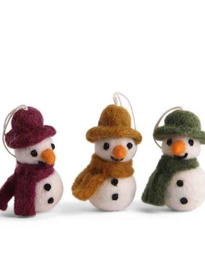 snemænd, snemænd med halstørklæde, filtede julegaver, juletræspynt, pynt til juletræer,fluesvampe i filt, svampe i filt, filtede svampe,, bæredygtig jul, én gry & sif, en gry & sif, filt julepynt, julepynt i filt, filt fra nepal
