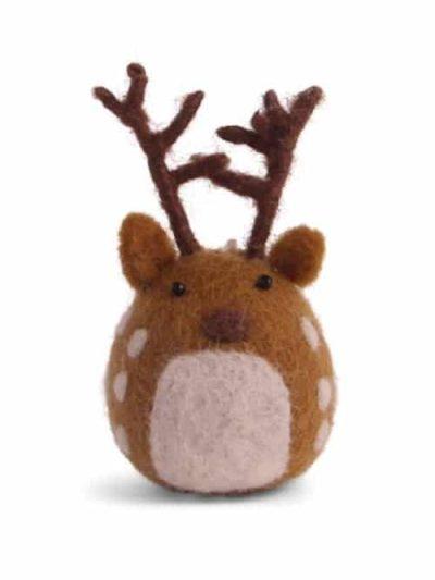 hjort, rensdyr, filtede julegaver, juletræspynt, pynt til juletræer,fluesvampe i filt, svampe i filt, filtede svampe,, bæredygtig jul, én gry & sif, en gry & sif, filt julepynt, julepynt i filt, filt fra nepal