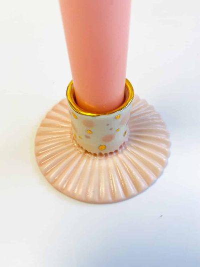 lysestage, lysestage med guld, galleri petz, porcelænsstage