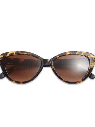 solbriller, have a look, cateye, cateye turtiose, brunt stel, leopard brille