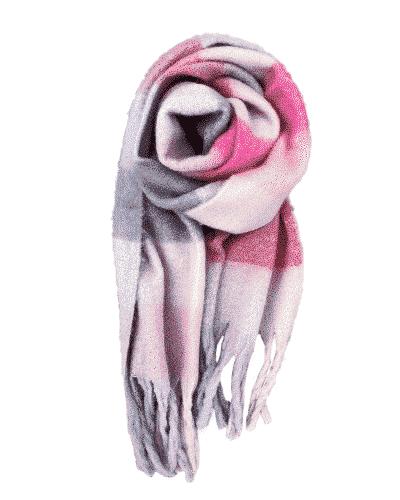 bow's by stær, tørklæde, halstørklæde, aura, ternet tørklæde, ternet halstørklæde, rosa mix,