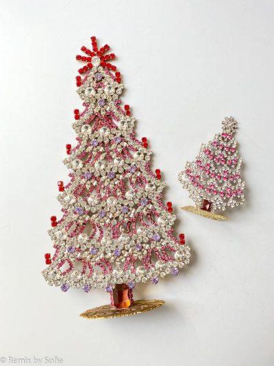 juletræ i rhinsten, rhinstens juletræ, vintage juletræ, tjekkiske juletræer, Czech christmastree, Christmas ornaments