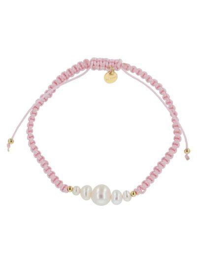 bow's by stær, armbånd, smykker, perlearmbånd, perler, ferskvandsperler, rosa, knyttet armbånd,