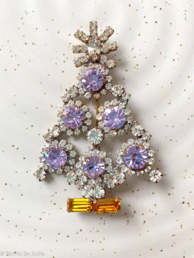 juletræs broche, broche i rhinsten, vintage broche,
