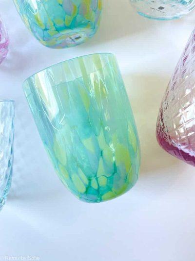 splash med aqua og mintgrøn,splash glas, anna von lipa big splash, opal glas, opaline glas, bohemian glasses, handblown glasses, mundblæste glas, glas med opal spots,