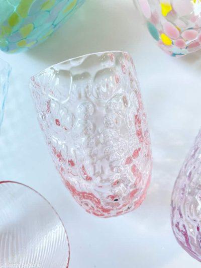 ice glas lyserød, ,mix and match glas, anna von lipa glas, anna von lipa forhandler, borddækning, mundblæste glas, bohemain glas, remix by sofie, vandglas, drikkeglas
