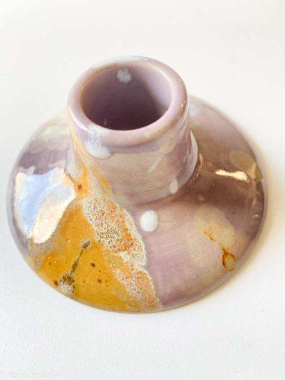 pastel lilla lysestager, keramik stage, keramik lysestage, pastelfavet lysestage