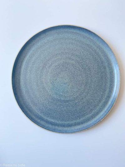 blågråt keramik fad, fad med høj kant, keramik fad, serveringsfad, fad ember keramik, fad émber keramik