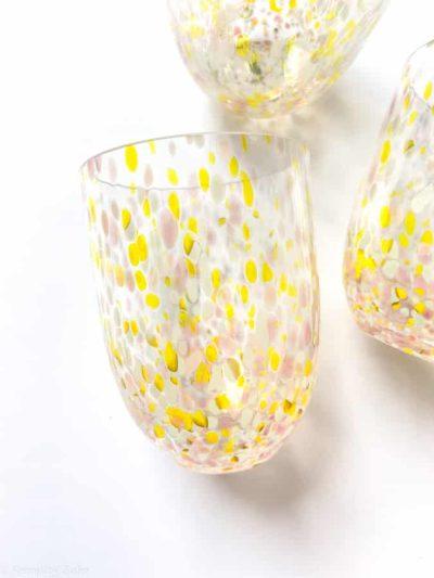 confetti summer, Summer confetti glas, anna von lipa, remix buy sofie, confetti, opal glad, vandglas, drikkeglas, mundblæst glas, anna von lipa glas
